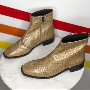 NEW CHIO Croc embossed leather booties size 37